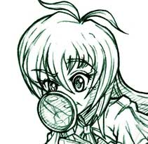 Sketch image of Cashie investigating with her lens