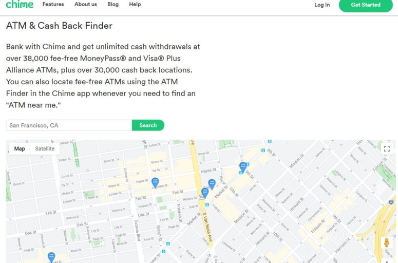 ATM and cash back finder at Chime